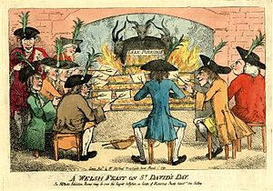 "Welsh cuisine - ""A Welsh Feast on St. David's Day"", satirical image showing Welsh dependence on leeks as food, 1790"