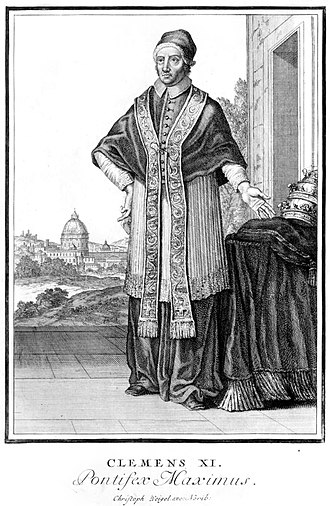 Pontifex maximus - Engraving by Christoph Weigel the Elder of Pope Clement XI, giving him the title Pontifex Maximus