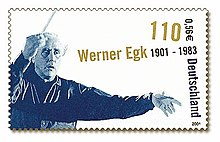 Postal stamp featuring a picture of Werner Egk