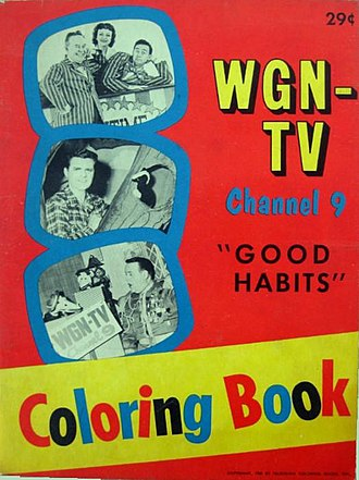 Ned Locke - WGN-TV coloring book, 1959. Lunchtime Little Theater is on cover.