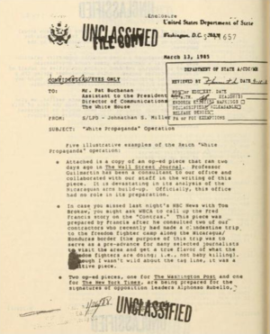 "White propaganda - A memo from the US State Department to Patrick Buchanan discussing ""White Propaganda"" of Otto Reich in the 1980s"