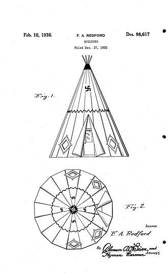 Wigwam Motel - Original Drawing for Wigwam Motel in Design Patent 98,617