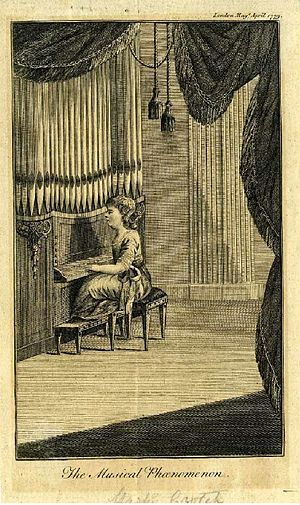 William Crotch - William Crotch playing the organ, aged 3½, in an illustration from The London Magazine, April 1779