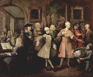 Levee (ceremony) - The second scene of  William Hogarth's A Rake's Progress (1732-33) showing the wealthy Tom at his morning levée in London, attended by musicians and other hangers-on all dressed in expensive costumes. Surrounding Tom from left to right: a music master at a harpsichord, who was supposed to represent George Frideric Handel; a fencing master; a quarterstaff instructor; a dancing master with a violin; a landscape gardener Charles Bridgeman; an ex-soldier offering to be a bodyguard; a bugler of a fox hunt club. At lower right is a jockey with a silver trophy.