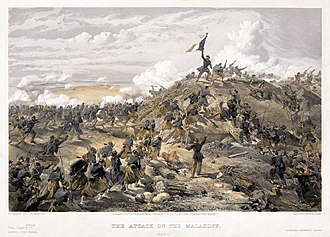 Battle of Malakoff - The Attack on the Malakoff by William Simpson, published shortly after the battle.