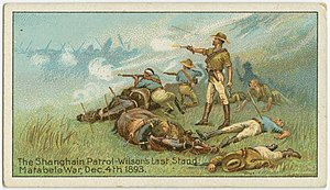 """Allan Wilson (army officer) - A cigarette card depicting """"Wilson's Last Stand"""""""