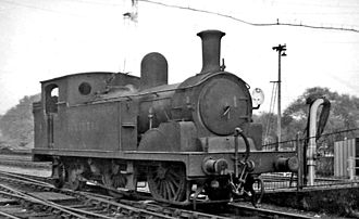 Winchester railway station - Unique SR locomotive at the station in 1947