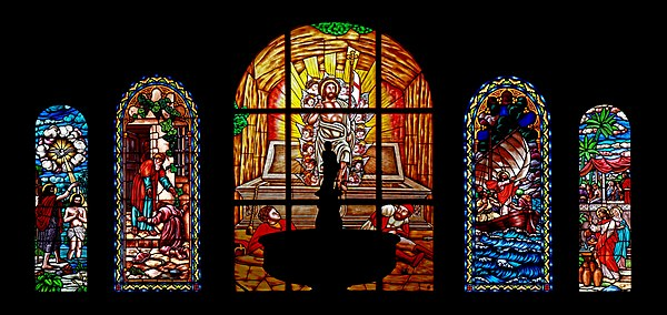 Stained glass windows in the Iglesia de El Salvador, Santa Cruz de La Palma