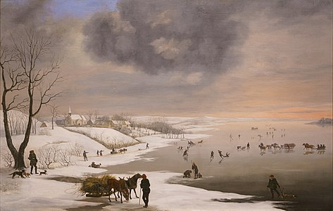 Painting of winter landscape with Brabrand church