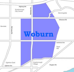 Woburn, Toronto - Image: Woburn map