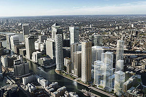 Wood Wharf - Updated artist impression of the development, following various amendments to the plans.