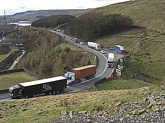 A628 road - The A628 Woodhead Pass is frequently congested and dangerous owing to the proliferation of HGVs.