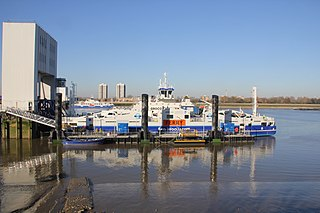 ferry across the River Thames in east London