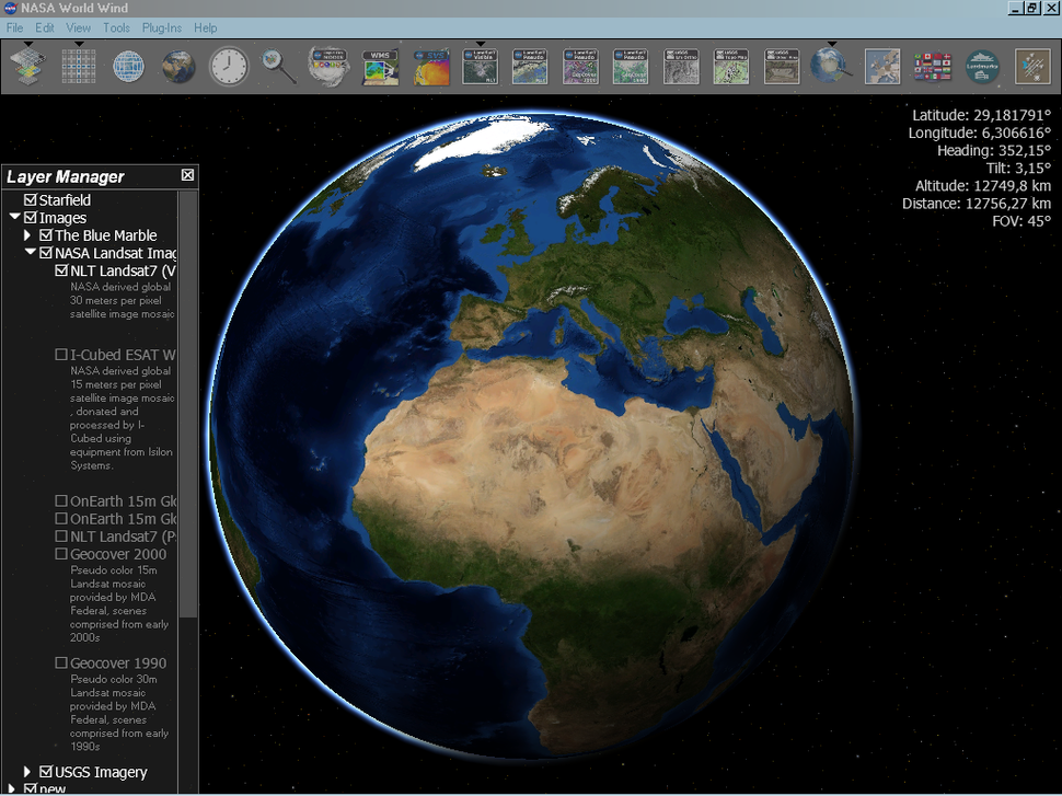 Screenshot of World Wind showing Blue Marble Next Generation layer
