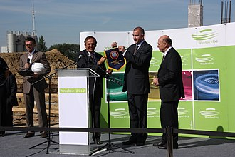 Michel Platini - Michel Platini visiting the construction site of the Stadion Miejski, 2009