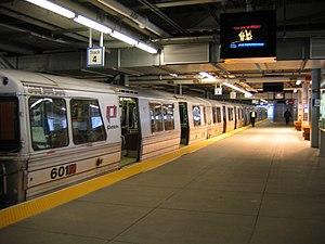 Hoboken-bound train at the World Trade Center ...
