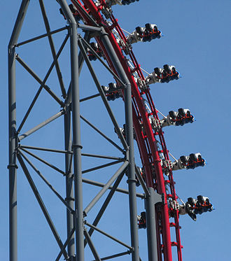 4th Dimension roller coaster - Image: X2 firstdrop