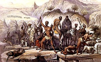 Xhosa Wars - Resistance fighters defend a stronghold in the forested Water Kloof during the 8th Xhosa war of 1851. Xhosa, Kat River Khoi-khoi and some army deserters are depicted