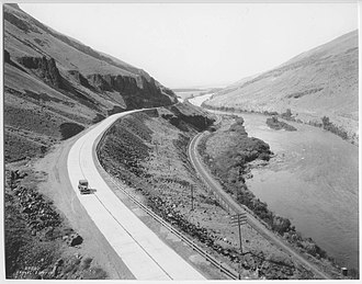 Interstate 82 - A section of the gravel-paved Yakima River Canyon Highway (now SR821), seen shortly after opening in 1924