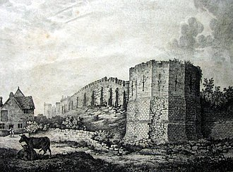 York city walls - An illustration from 1807 during the reign of King George III  showing the  Multangular Tower and the city walls
