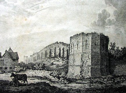 An illustration from 1807 during the reign of King George III showing the Multangular Tower and the city walls York city walls in 1807 showing the Multangular Tower.jpg