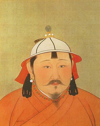 Temür Khan - Portrait of Temür Khan. Original size is 47 cm wide and 59.4 cm high. Paint and ink on silk. Now located in the National Palace Museum, Taipei, Taiwan.