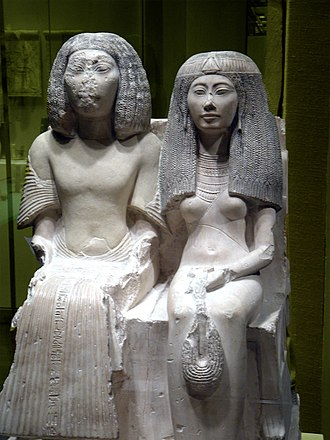 Asyut - Statue of the chief royal scribe Yuny of Asyut and his wife Renenutet, 1290–1270 BCE early Dynasty 19.