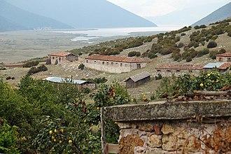 Devoll (municipality) - The Small Prespa Lake, at the southwestern end, near the village of Zagradec