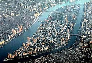 Zamalek - Aerial view looking south, with the Zamalek and Gezira districts on Gezira Island, surrounded by the Nile.