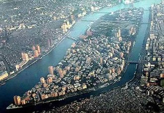 Gezira Island - Aerial view of Gezira Island looking south, with the Zamalek district, surrounded by the Nile.