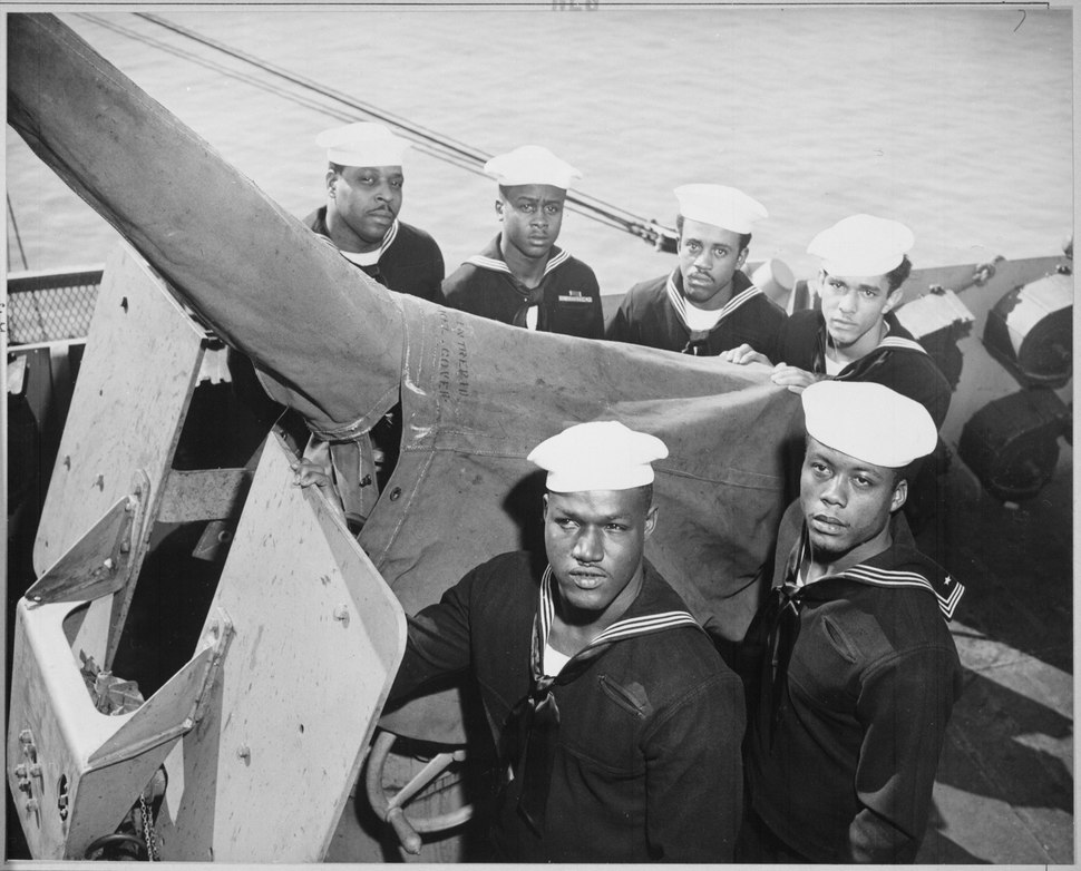 """""""A gun crew of six Negroes who were given the Navy Cross for standing by their gun when their ship was damaged by enemy - NARA - 520688"""