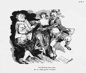 """Ulla Winblad - Illustration for """"Ulla Winblad kära syster. Du är eldig, qvick och yster..."""". Fredman's Epistle No. 3, by Carl Wahlbom (1810-1858)"""