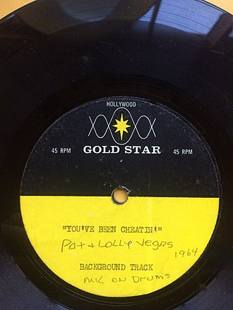 """Gold Star Studios - Image: """"You've Been Cheatin'"""" Demo 45 RPM, Pat and Lolly Vegas"""