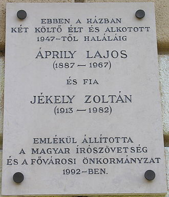 Lajos Áprily - Commemorative plaque for Lajos Áprily and his son Zoltán Jékely at 21 Frankel Leó Street, Budapest District II.