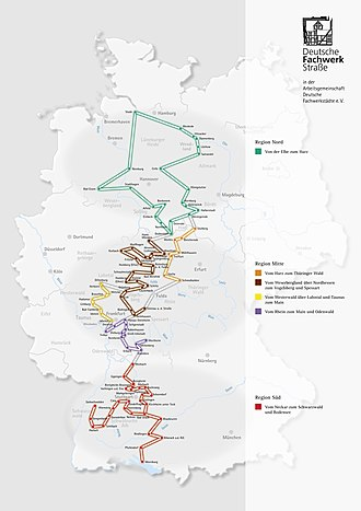 German Timber-Frame Road - The German Timber-Frame Road, divided in its seven regional sections