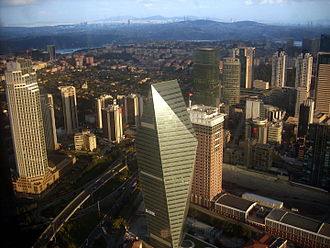 Levent - View of Finansbank Tower and Büyükdere Avenue in Levent, from the observation deck of Istanbul Sapphire.