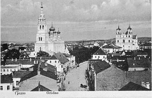 First Battle of Grodno (1920) - Downtown Grodno on a 1920 postcard