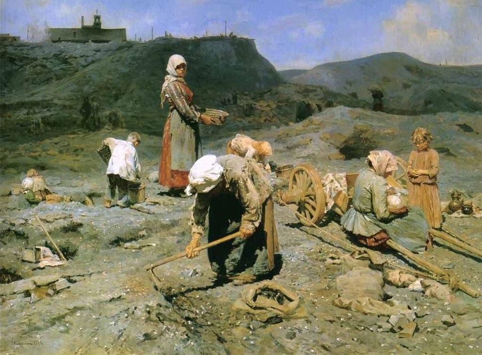Сбор угля бедными на выработанной шахте