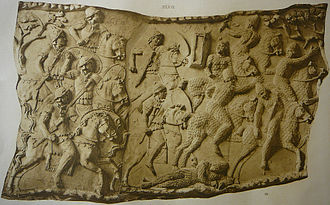 Equites cataphractarii - Routed Sarmatian cataphracts (right) flee from Roman auxiliary cavalrymen, during the Dacian Wars (AD 101-6). Note full-body scale armour, also armoured caparison for horses (including eye-guards). As depicted, the body hugging scale armour (especially covering the horses' legs) is entirely impractical and must reflect artistic licence based on an oral description. In the period following this war the Romans established the first of their own regular units of cataphracts, they were most likely equipped like the Sarmatians. Panel from Trajan's Column, Rome
