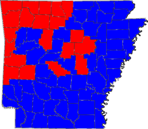 United States Senate election in Arkansas, 2002 - Image: 02ARSenate Counties