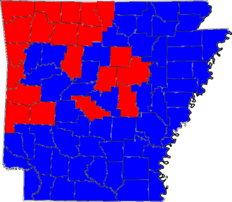 United States Senate election in Arkansas, 2002 - Image: 02ARSenate Counties