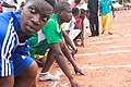 100 meters, Senior Boys racing event 01.jpg