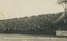12,000 people in the stands at Swayne Field Opening Day, Toledo, Ohio