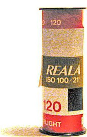 Roll film - A spool of Fujifilm-brand type 120 negative roll film