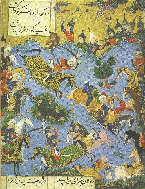 The battle between the young Ismail and Shah Farrukh Yassar of Shirvan 1541-Battle in the war between Shah Isma'il and the King of Shirvan-Shahnama-i-Isma'il.jpg