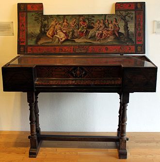 Walter Erle (died 1581) - A virginal, the musical instrument played by Walter Erle, this one contemporaneous with his life, made in Venice in 1566. Germanic National Museum, Nuremberg