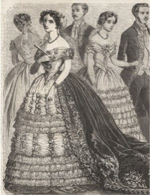 Victorian fashion - Picture of 1850s evening dress with a bertha neckline