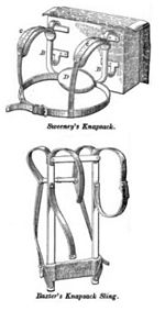 two examples of external frame backpack designs dating to the 1860s