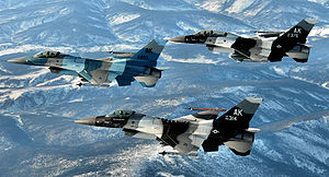 354th Fighter Wing - 18th Aggressor Squadron  F-16Ds over the Alaska Range. AF Serials 86-0314 (Block 30D), 87-0375 (Block 30H) and 86-0293 (Block 30D)