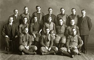 Walter Rheinschild - Official portrait of the 1907 Michigan football team—Rheinschild is second from the left in the back row.
